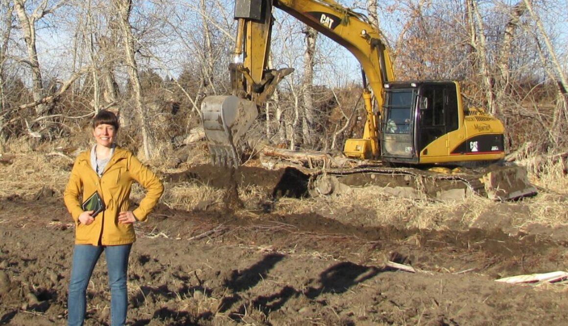 Heather Barber with excavator at Skalkaho Bend Park